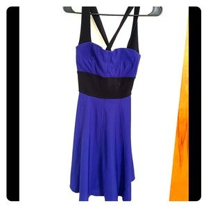 Cross Strapped Blue and Black Banded Dress